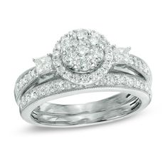1 CT. T.W. Round and Princess-Cut Diamond Flower Bridal Set in 10K White Gold - View All Rings - Zales