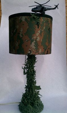 """Army men lamp In the """"Arms of Sleep 2"""" by tllom on Etsy, $55.00. Each lamp is a one-of-a-kind, quality workmanship. No longer available #LampIdeas"""