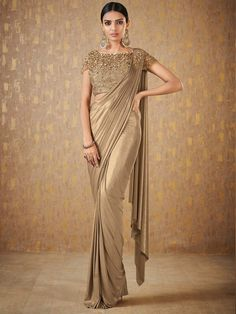 Buy Gold Lycra Designer Saree Online Buy Latest Trends Ruffle Custom Made Designer Traditional Party Saree in USA and Canada by Trendylehenga Couture Buy Online Designer Collection, :Call/ WhatsApp us 77164 . Trendy Sarees, Stylish Sarees, Saree Blouse Patterns, Saree Blouse Designs, Designer Sarees Wedding, Wedding Sari, Party Wedding, Wedding Season, Saree Designs Party Wear