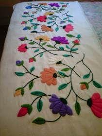 como hacer bordados mexicanos a mano ile ilgili görsel sonucu Hand Embroidery Patterns Flowers, Hand Work Embroidery, Hand Embroidery Stitches, Embroidery Needles, Hand Embroidery Designs, Cushion Embroidery, Crewel Embroidery, Ribbon Embroidery, Floral Embroidery