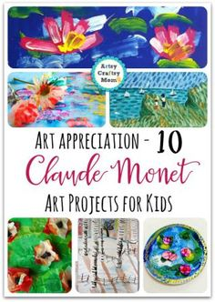 10 Claude Monet Art Projects for Kids Monet was the father of Impressionist painting. Check out our Art appreciation series - 10 Claude Monet Art Projects for Kids - impressionism, lily pond etcMonet was the father of Impressionist painting. Check out our Art Lessons For Kids, Projects For Kids, Art For Kids, Crafts For Kids, Art History Lessons, Preschool Projects, Quick Crafts, Art Children, Cool Art Projects