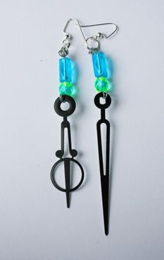 Art Deco Steampunk Clock Hand Earrings  UV by mannequinreject