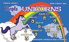 Unicorns-Purple-151790 digitally printed vinyl soccer sports team banner. Made in the USA and shipped fast by BannersUSA. www.bannersusa.com