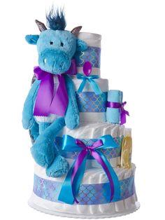 Danny the Dragon 4 tier Diaper Cake Diaper Cake Boy, Diaper Cakes, Lil Baby, New Baby Boys, Purple Cakes, Baby Cakes, Unique Baby, New Parents, Baby Feeding