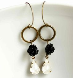 Dangling Earrings in Black and White with Rose Colors by vadjutka