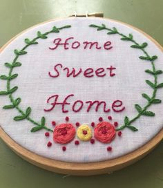Home Sweet Home Embroidery Hoop by EmbroideryB on Etsy