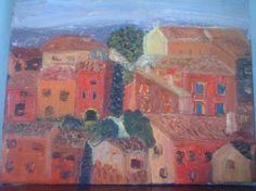 Roussillon 2006 Tableau peinture huile au couteau