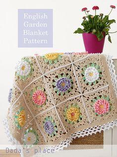 20 Super Ideas for crochet granny square blanket pattern english Crochet Afghans, Afghan Crochet Patterns, Crochet Squares, Crochet Granny, Crochet Motif, Crochet Flowers, Crochet Baby, Free Crochet, Blanket Crochet