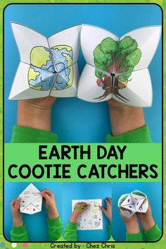 Cootie Catchers / Fortune Tellers – Earth Day Looking for an engaging activity for April and earth day … Earth Day Games, Earth Day Activities, Spring Activities, Activities For Kids, Crafts For Kids, Earth Day Crafts, Environment Day, Festival Camping, Earth Science