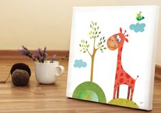 Giraffe art print Nursery Art Baby Room Art Canvas by BabooArt, $39.00