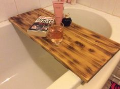 Handmade scorched wooden bath board bars  These solid wooden bars are ideal for relaxing in the bath, holding your favourate tipple or just a book etc...  A luxurious extra a must for relaxation after a busy hectic day  These are 3 beam that have been scorched, sanded and hand waxed to protect against moisture. Scorched wood is a bang on trend feature for any modern home. It fits in with any kind of look, rustic, shabby chic, industrial, farmhouse etc.. it is a style to mix with all existing…