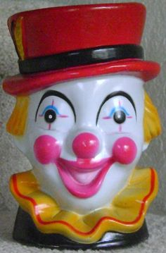 Colorful Vintage Circus Clown Bank by theevintageshop on Etsy, $12.00
