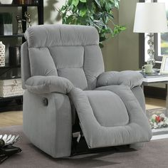 Furniture of America Aydell II Transitional Flannelette Recliner (Grey), Size Oversized (Fabric)