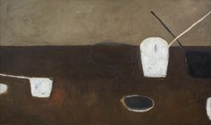 William Scott, Brown Still Life, 1956, Oil on canvas, 101.7 × 167.6 cm / 40 × 66 in, Private collection Piano Nobile, London