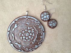 'Rustic Patina Medallion' Polymer Clay Pendant and Earrings Set by TTE Designs on Art Fire. $22 Polymer Clay Pendant, Polymer Clay Jewelry, Shrinky Dinks, Polymer Clay Creations, Clay Projects, Earring Set, Resin, Stamps, My Etsy Shop