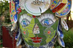 Green Mosaic Garden Goddess Mosaic Tray, Mosaic Tile Art, Mosaic Artwork, Stone Mosaic, Water Features In The Garden, Garden Features, Garden Totems, Garden Art, Garden Ideas