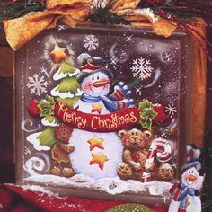 Viking Woodcrafts: Sunshine Kisses and Warm Winter Wishes Vol 7 by Holly Hanley Painted Glass Blocks, Decorative Glass Blocks, Painted Pavers, Lighted Glass Blocks, Painted Gourds, Christmas Glass Blocks, Christmas Signs Wood, Christmas Snowman, Christmas Craft Projects