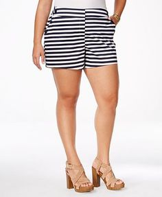 Stoosh Plus Size Striped Sailor Shorts Plus Size Summer Outfit, Sailor Shorts, Plus Size Shorts, Trendy Plus Size, Chic, Casual Shorts, My Style, Sexy
