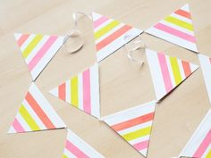 DIY summer garland with neon washi tape by momentstolivefor