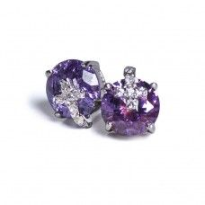brand new with free gift box  amethyst cz size:8.0mm  925 sterling silver