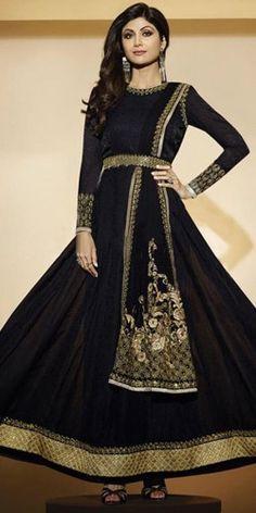 Shilpa Shetty Black Georgette Designer Anarkali Suit With Chiffon Dupatta.