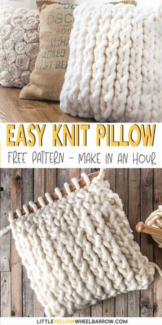 A chunky knit pillow cover that you can pull together in under an hour. This free knitting pattern is perfect for a beginner knitter. No difficult stitches, or counting rows! If you can knit and purl you're already there. This easy knitting project is g Beginner Knitting Projects, Easy Knitting Patterns, Yarn Projects, Knitting Stitches, Free Knitting, Baby Knitting, Sewing Projects, Crochet Patterns, Knitting Beginners