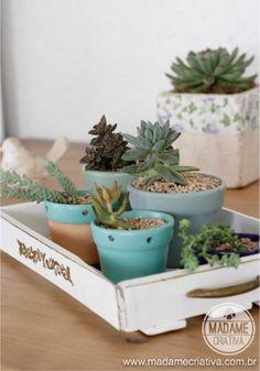 Bandeja para vasinhos de suculentas estilo rústico chique! Assim fica fácil ter um mini jardim dentro de casa! - How to make a tray to store…