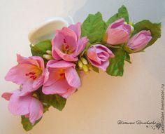 """Краб для волос """"Весна, весна...."""" - розовый,для принцессы,красивая заколка"""
