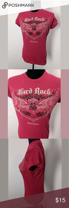 """Hard Rock Cafe Minneapolis Small Fitted T Shirt Hard Rock Cafe Minneapolis Women's Small Red Short Sleeve Fitted T Shirt  Features rhinestones and says """"Love All Serve All""""  100% Cotton Measurements: 24 inches top to bottom 18 inches armpit to armpit  Good gently used condition hard rock cafe Tops Tees - Short Sleeve"""