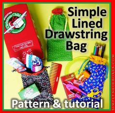 Simply Shoe Boxes: Simple Lined Drawstring Bag Pattern and Tutorial ~ Perfect for OCC Pencil Pouch or Hygiene Supplies Christmas Child Shoebox Ideas, Operation Christmas Child Shoebox, Christmas Bags, Pencil Bags, Pencil Pouch, Pouch Bag, Drawstring Bag Pattern, Drawstring Bags, Marble Bag
