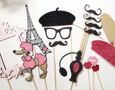 Items similar to Photo Booth Props - C'est La Vie Collection - Parisian Inspired Photobooth Props on Etsy Parisian Party, Parisian Wedding, French Wedding, Animation Soiree, Thema Paris, French Themed Parties, Paris Bridal Shower, Bridal Showers, Paris Birthday Parties