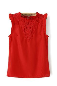 Lace Neckline Sleeveless Casual Blouse