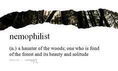 Nemophilist: a haunter of the woods; one who is fond of the forest and its beauty and solitude