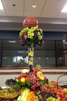 Basketball fruit and veggie centerpiece