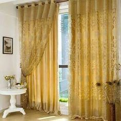 Marvelous Luxury Polyester Fabric Gold Curtains In Living Room