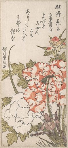 Yanagawa Shigemasa (Japanese, 18th–19th century). Peonies and Iris, 18th–19th century. Japan. The Metropolitan Museum of Art, New York. H. O. Havemeyer Collection, Bequest of Mrs. H. O. Havemeyer, 1929 (JP2176) #iris #flower