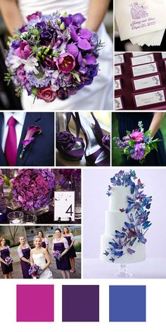 Fuschia + Purple + Indigo    Good for: Garden weddings in the spring.    Tips for pulling it off: Choose rosier shades of purple to keep the colors from getting too dark, or pair with gray for a more masculine look.