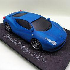 Blue Lamborghini Car Cake