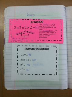Interactive Math Notebook Ideas - Prime/Composite Numbers, Exponents, Factor Trees, GCF
