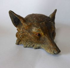 Antique Fox Head Figural Inkwell in Old Paint