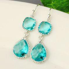 Sea Green Earrings  Blue Silver Drop Earrings by MyDistinctDesigns, $36.00