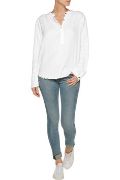 Current/ElliottThe Annabelle frayed cotton-gauze top