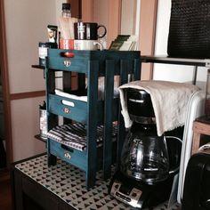 すのこ棚/すのこ/セリア/珈琲コーナー/青く塗り塗りしました〜/棚…などのインテリア実例 - 2014-06-18 13:35:59 | RoomClip(ルームクリップ)