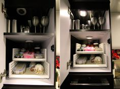 """Peek Inside Our Airstream » Just 5 More Minutes - Love the lights! From costco - Wireless LED puck lights; 6 pack for $28  sliding plastic bins. From the Container Store, the system is by """"Like-it"""" and they are called """"Short Wide Bin"""""""