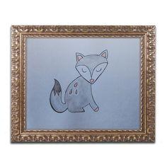 "Trademark Art 'Gray Fox' by Nicole Dietz Ornate Framed Painting Print Size: 11"" H x 14"" W x 0.5"" D"