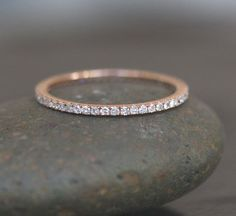 Stackable Simple and Elegant 14k Rose Gold and Diamond Wedding Band Eternity Ring. $589.00, via Etsy. #Diamondssimple #GoldJewelleryBling