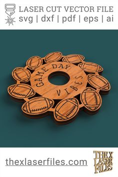 Laser Cut Vector File DIGITAL FILE Football Coasters