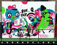 Bue the Warrior / Faif - Belgian Street Artist  His art is fun and colorful ❤
