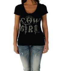 Black - Cowgirl Old West V-Neck Top Shirt