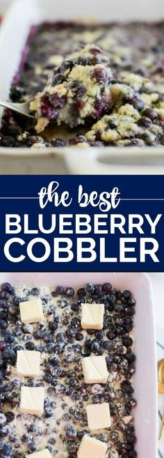 Blueberry Cobbler – ONLY 4 INGREDIENTS! This easy blueberry cobbler recipe bursts with flavor. The filling comes out perfect every time after baking and you can create it with fresh blueberries or frozen making it a great option for last minute guests. Frozen Blueberry Recipes, Blueberry Cobbler Recipes, Blueberry Recipes Using Cake Mix, Blueberry Pie Fillings, Blueberry Cobler, Easy Blueberry Desserts, Blueberry Ideas, Blueberry Scones, Dessert Simple